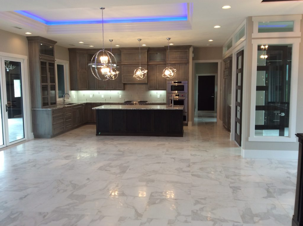 Fancy kitchen with automated colour lights