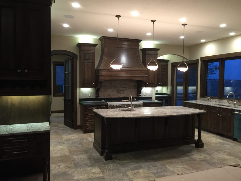Big kitchen with automatic lights
